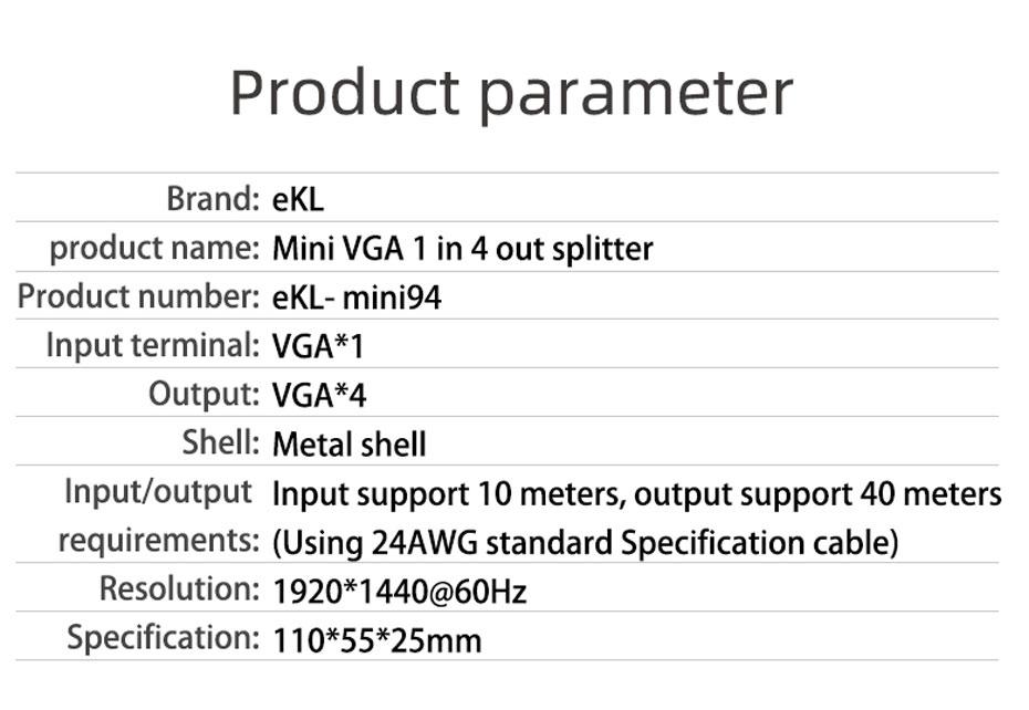 Specifications of 4-port VGA splitter Mini94