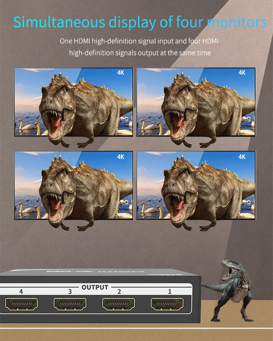 HDMI splitter 1 minute 4 MiniHS104 supports synchronization of 4 monitors