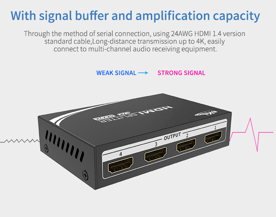 HDMI splitter 1 minute 4 MiniHS104 supports signal buffer amplification function