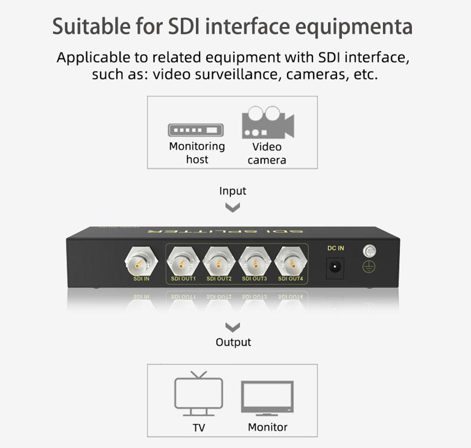 SDI splitter 1 in 4 out SD104 compatible SDI interface equipment