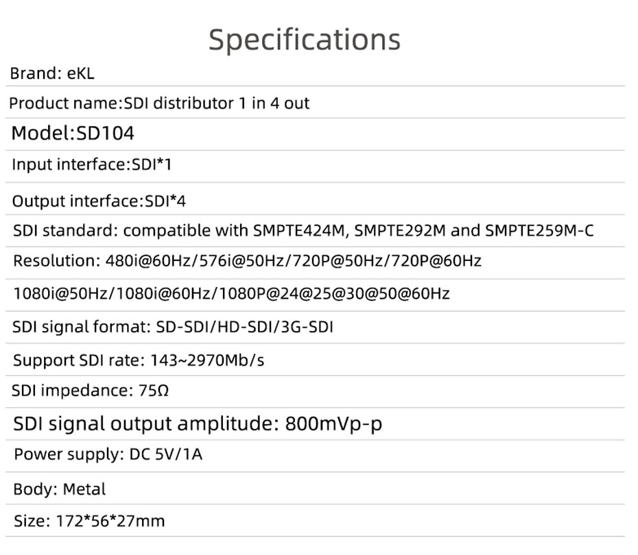 SDI splitter 1 in 4 out SD104 specifications