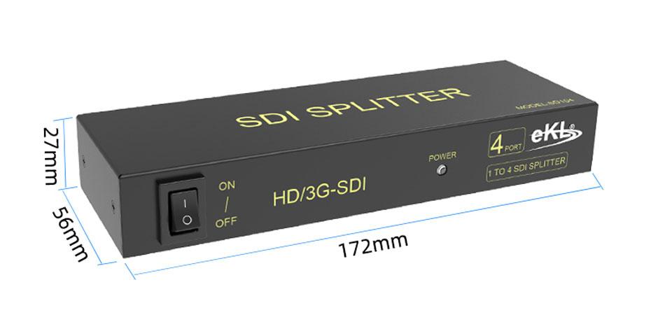 SDI splitter 1 in 4 out SD104 length: 172mm; width: 56mm; height: 27mm