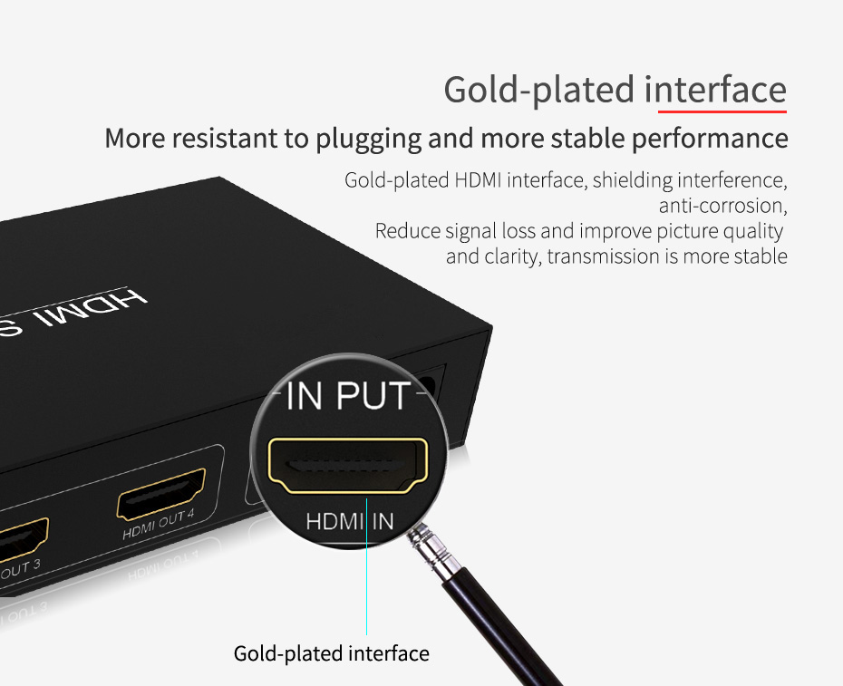 1 in 4 out HDMI splitter UH04 uses gold-plated HDMI interface