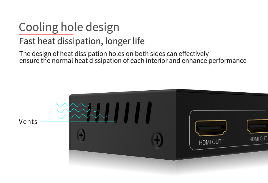 1 in 4 out HDMI splitter UH04 uses side openings for heat dissipation