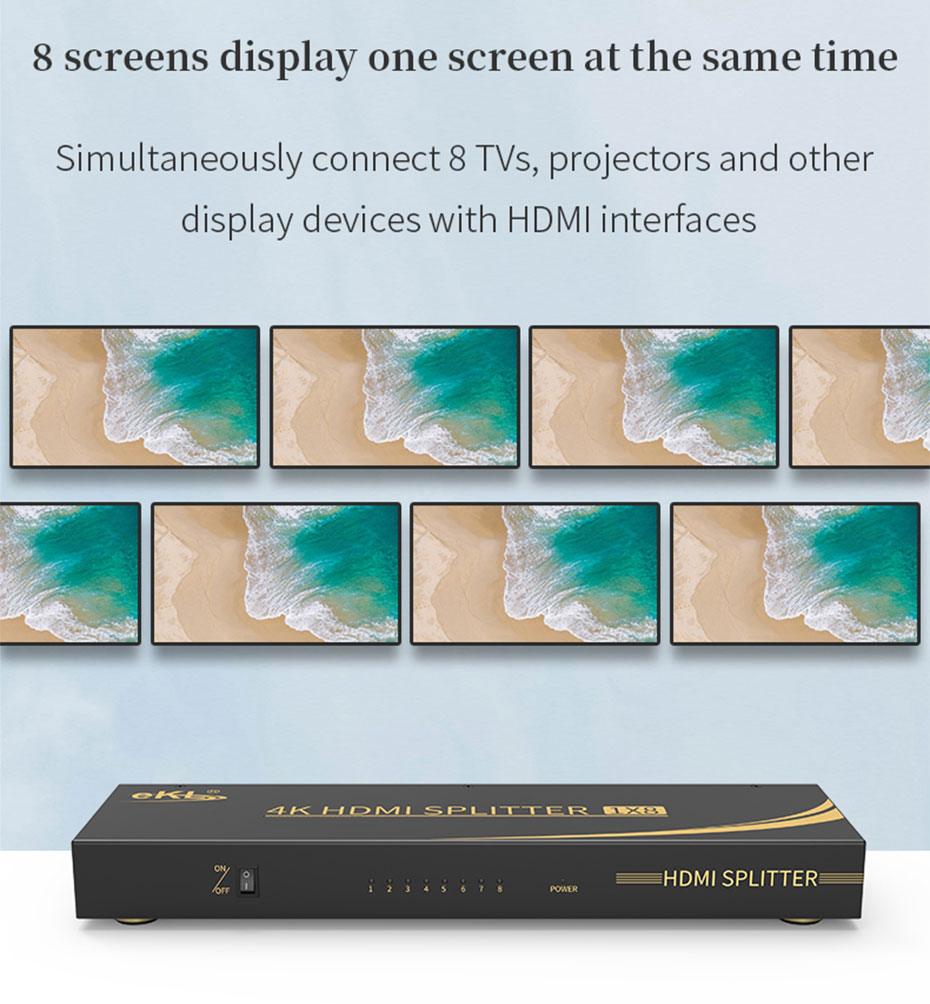 HDMI2.0 splitter 8 UH08R supports 8 HDMI display devices to display the same screen at the same time
