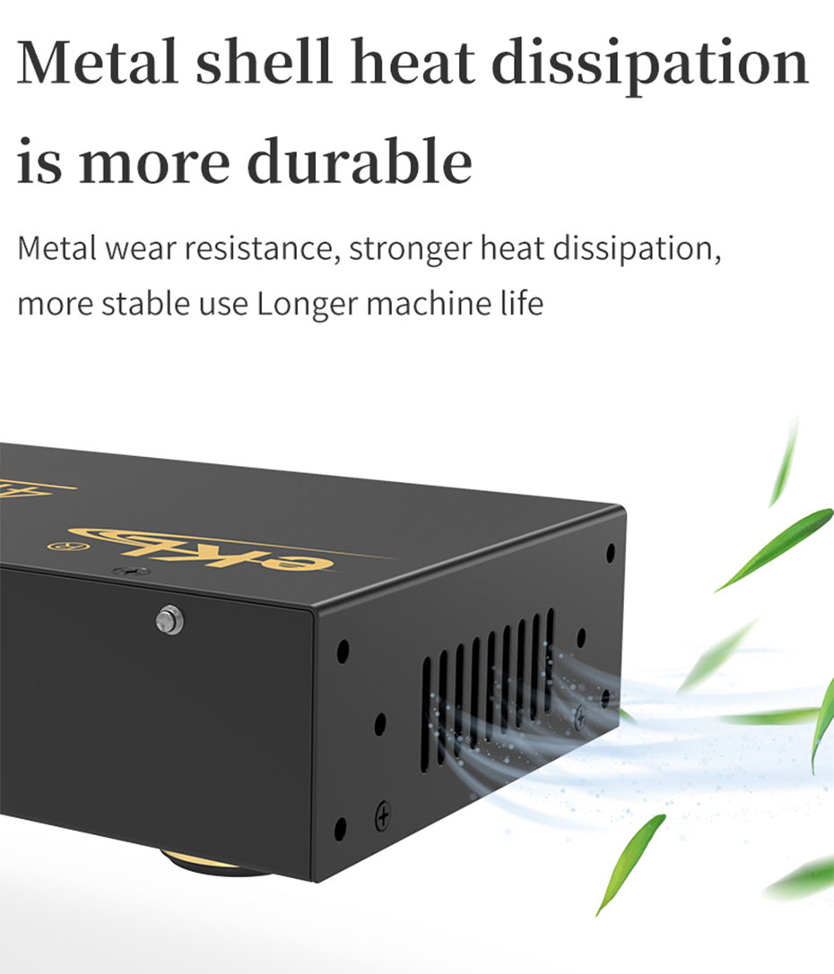 The HDMI2.0 splitter UH08R adopts a metal shell body and a side hole heat dissipation design