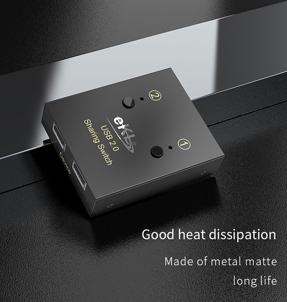USB printer sharing device 2 in 2 out 02U wear-resistant, easy to heat dissipation
