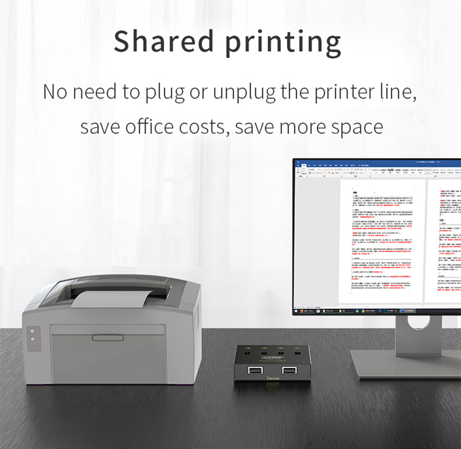 USB printer sharing device 4 in 2 out 04U no need to plug the printer, one key switch printing