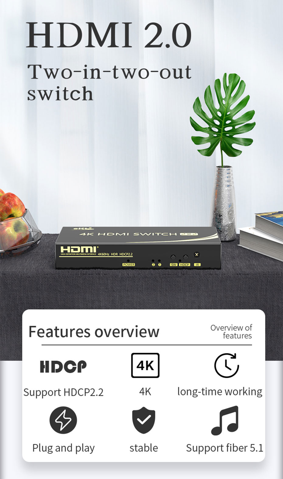 HDMI switcher 2 in 2 out 212H