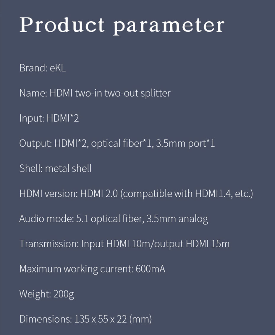 HDMI switcher 2 in 2 out 212H specifications