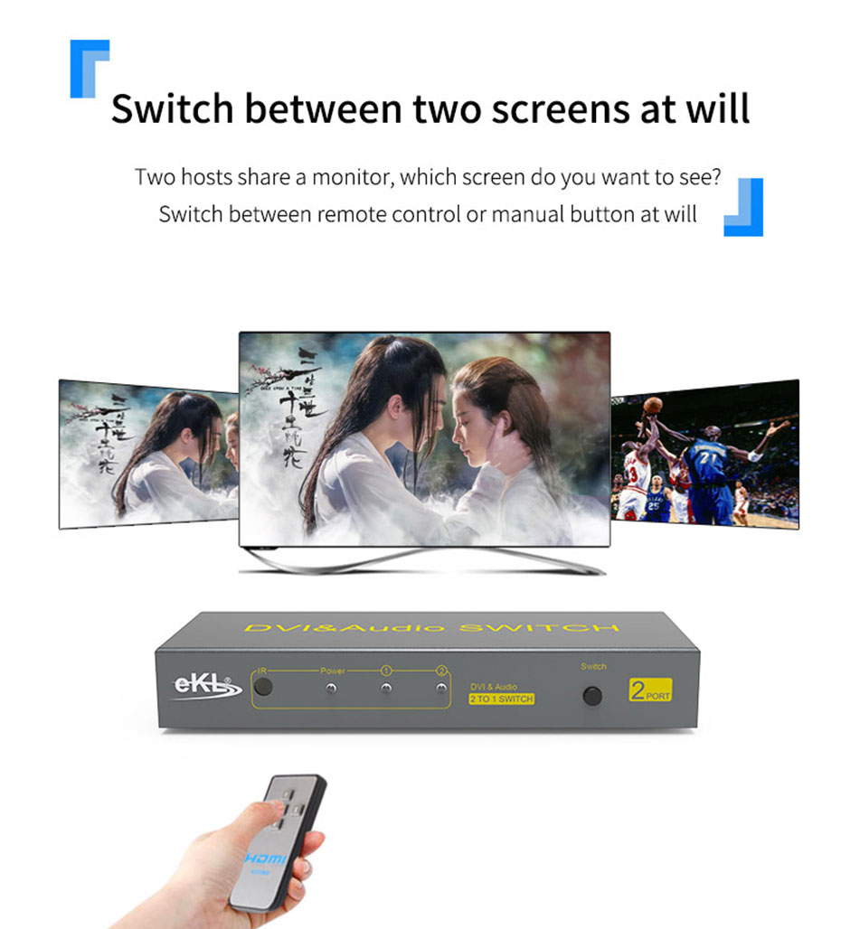 2-port DVI switcher, 2 inputs and 1 output 21D two screens, switch at will