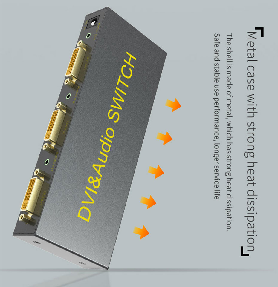 2 port DVI switcher 2 in 1 out 21D uses metal body, strong and easy to dissipate heat