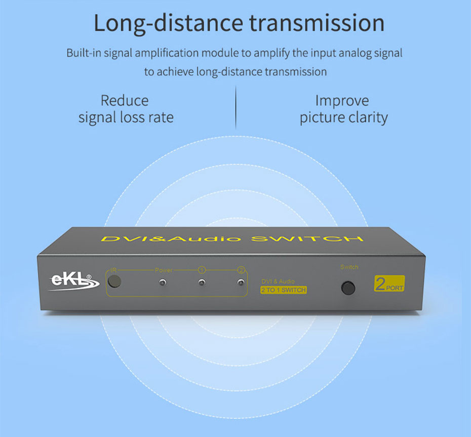 2 port DVI switcher 2 in 1 out 21D support signal amplification function