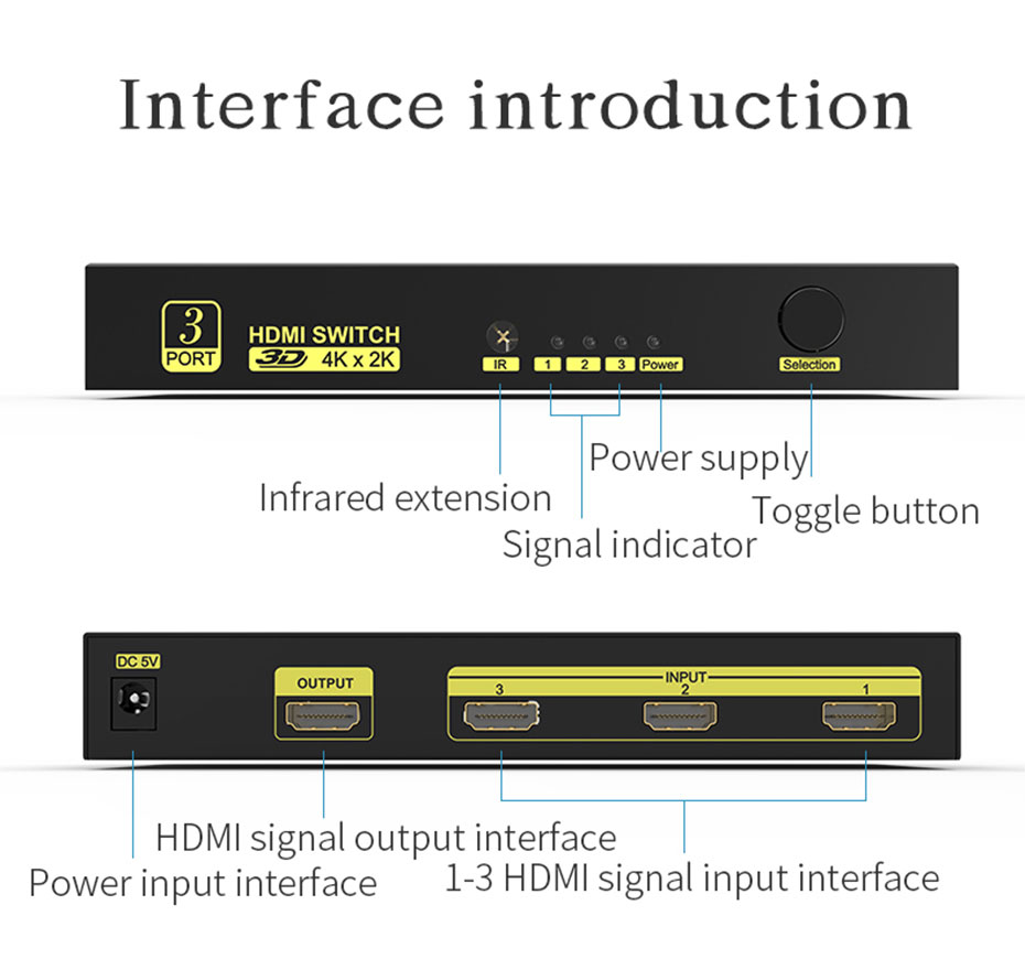 3 in 1 out HDMI switcher 31HN interface introduction