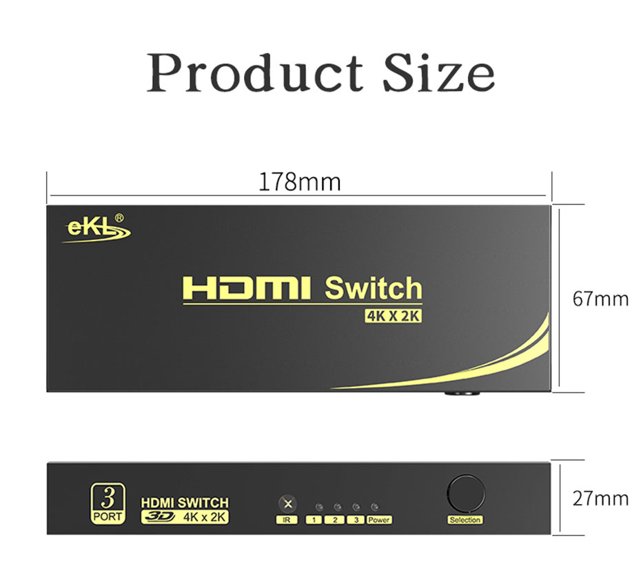 3 in 1 out HDMI switcher 31HN length 178mm; width 67mm; height 27mm