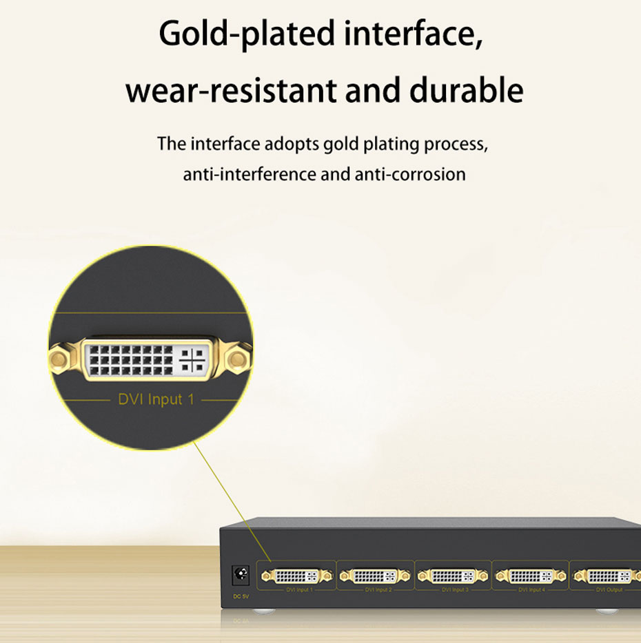 DVI switch 4 in 1 out 41D using gold-plated DVI interface