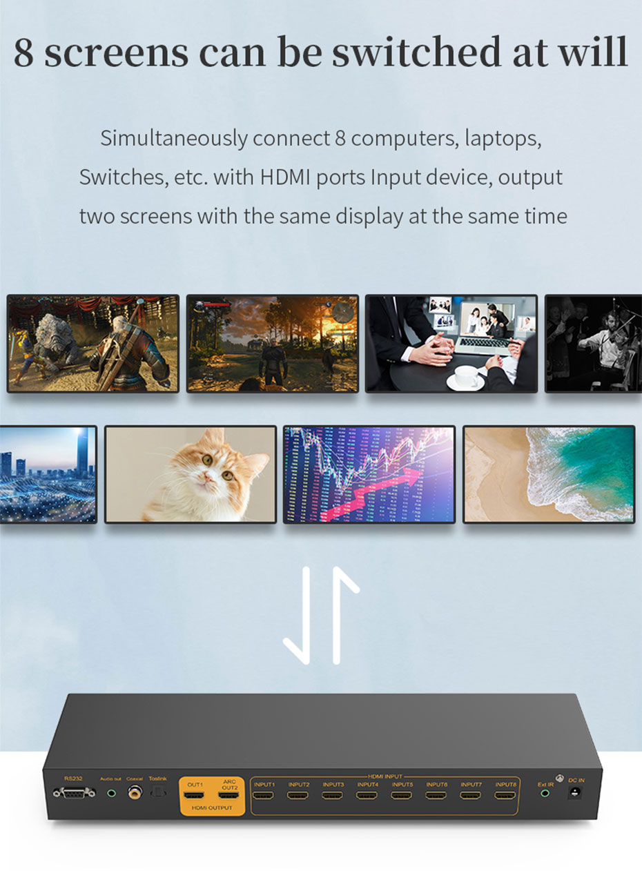 HDMI switcher 8 in 1 out/8 in 2 out 812H 8 input arbitrary switch