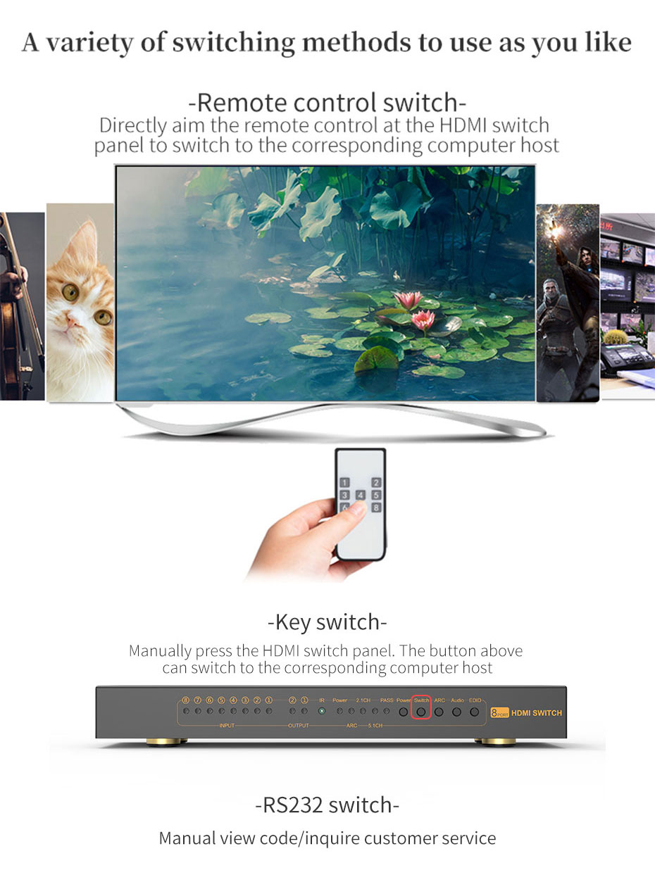 HDMI switcher 8 in 1 out/8 in 2 out 812H supports multiple switching methods