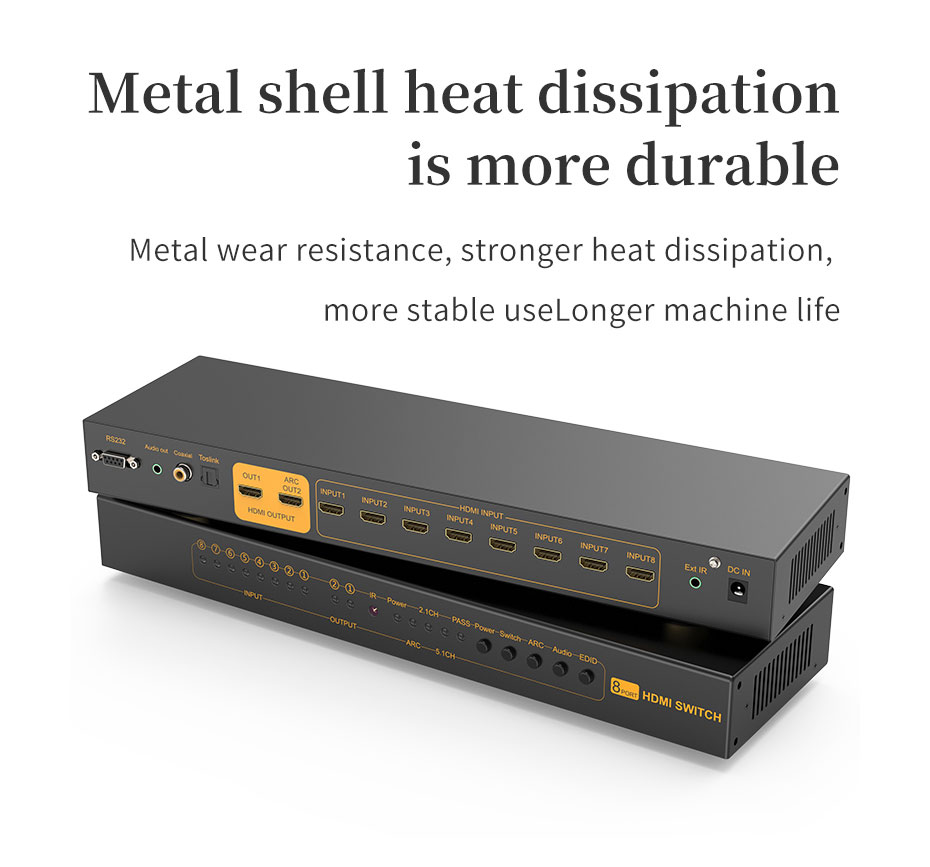 HDMI switcher 8 in 1 out/8 in 2 out 812H supports signal amplification