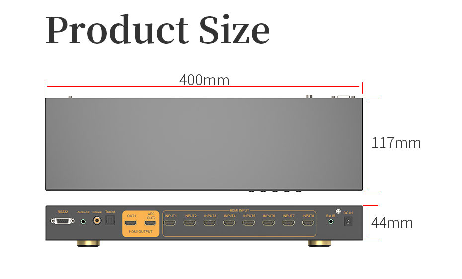 HDMI switcher 8 in 1 out/8 in 2 out 812H part of the application scenarios