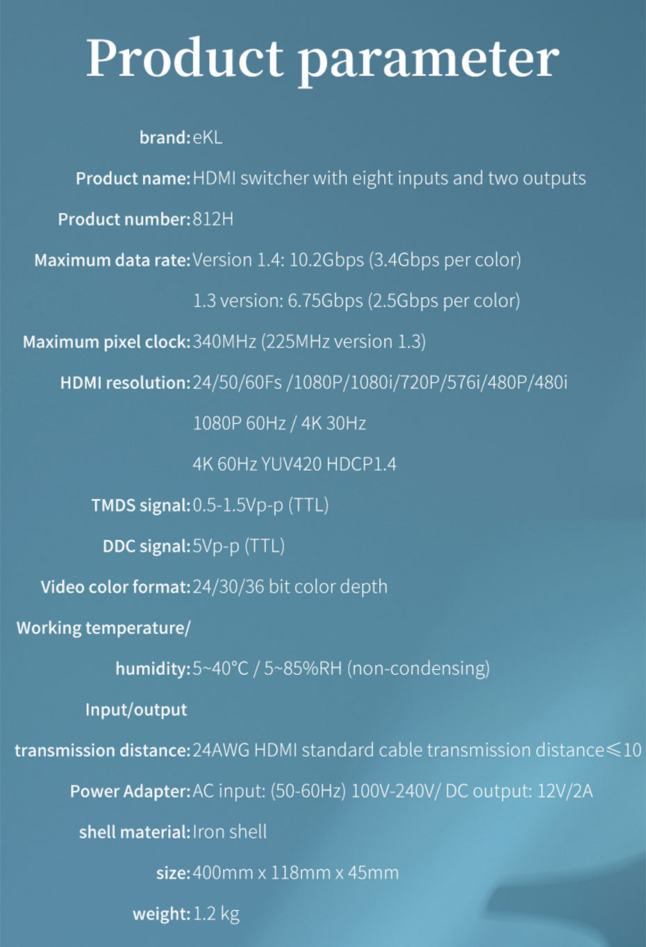 HDMI switcher 8 in 1 out/8 in 2 out 812H specifications