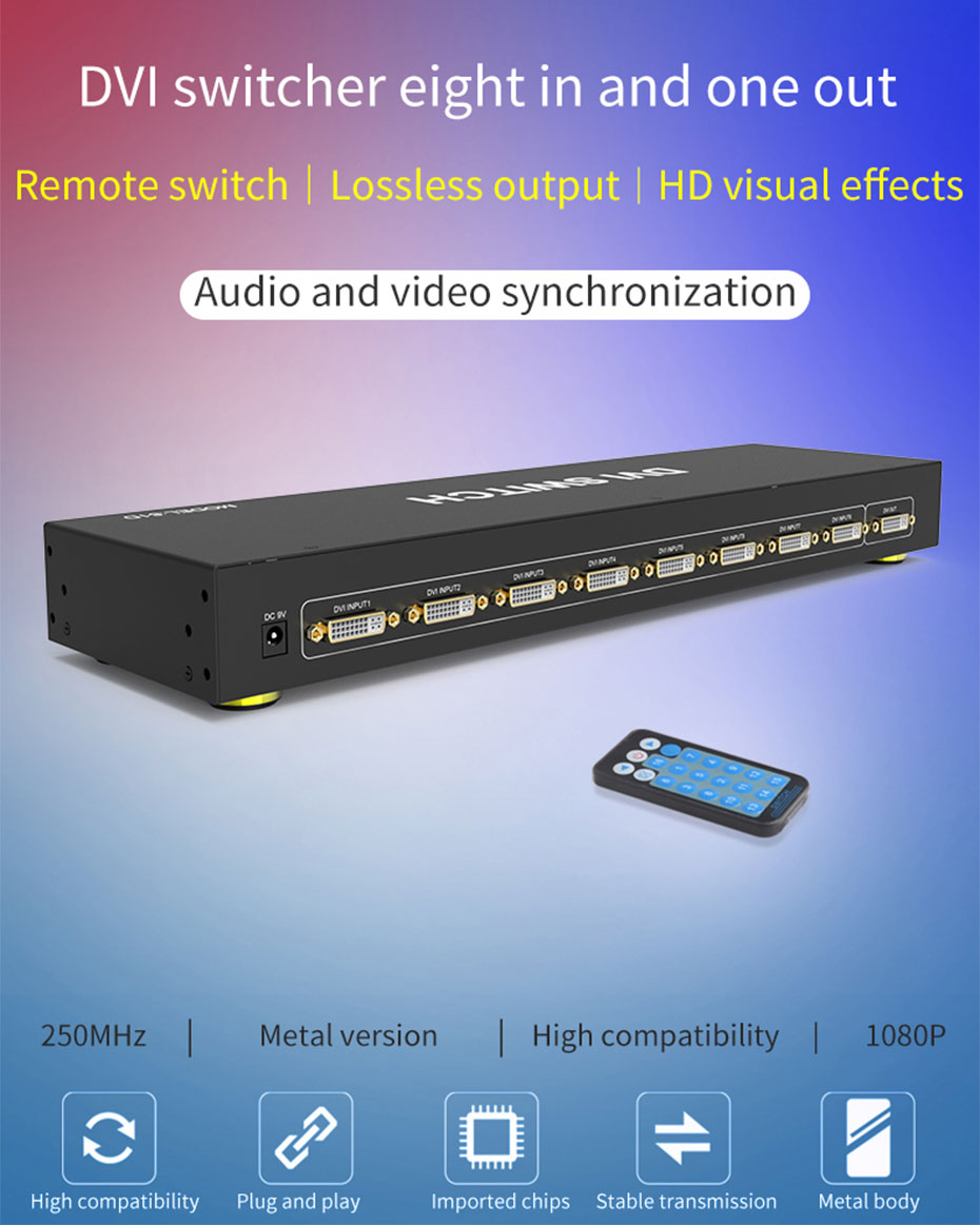 DVI switch 8 in 1 out 81D