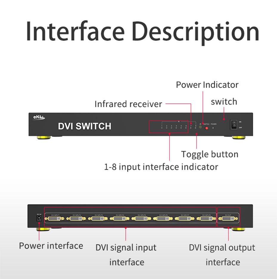 DVI switch 8 in 1 out 81D interface description