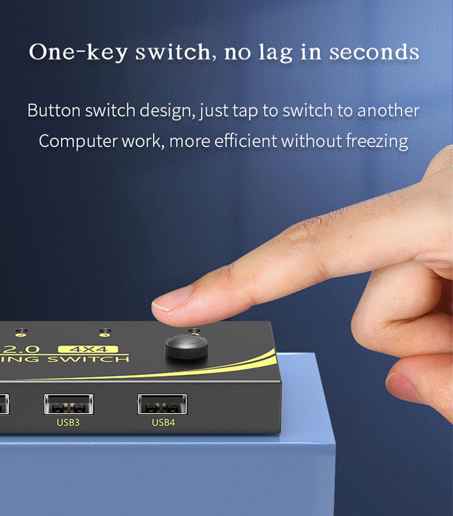 USB printer sharing device 4 in 4 out U404 second level one-key switch