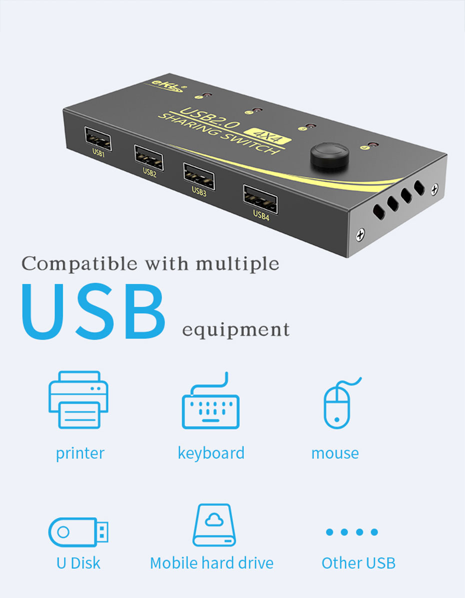 USB sharer U404 is compatible with a variety of USB interface devices