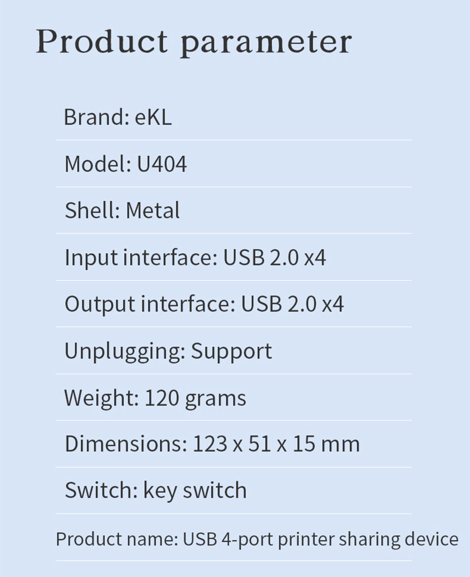 USB sharer 4 in 4 out U404 specifications