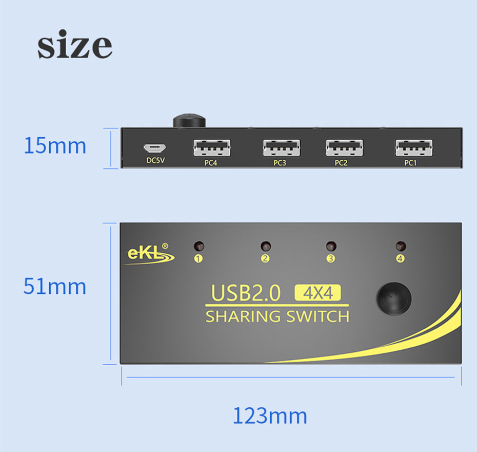 USB sharer 4 in 4 out U404 length: 123mm; width: 51mm; height: 15mm