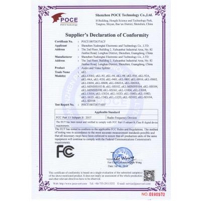 Splitter FCC certificate