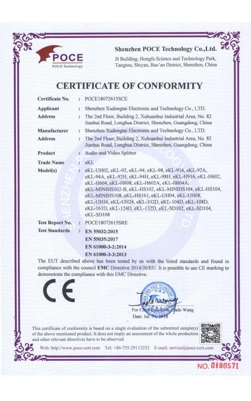 Splitter CE certificate