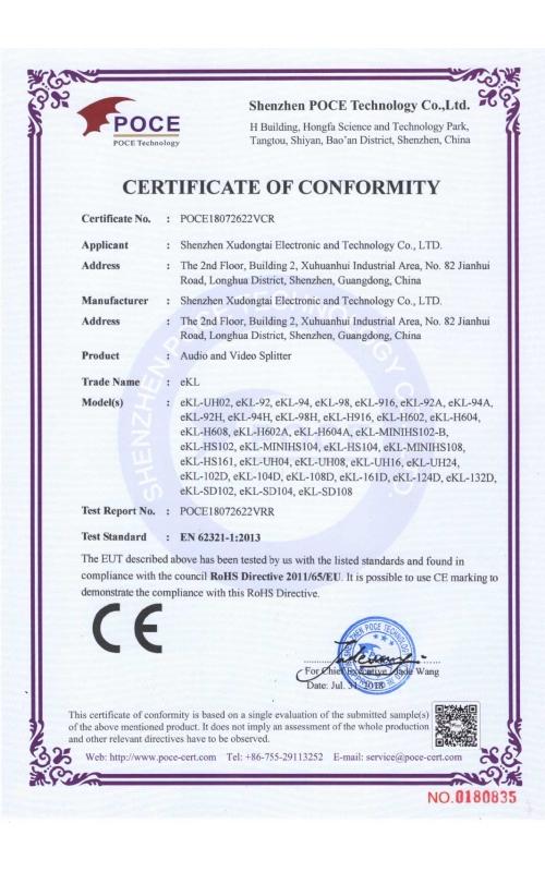 Splitter RoHS certificate