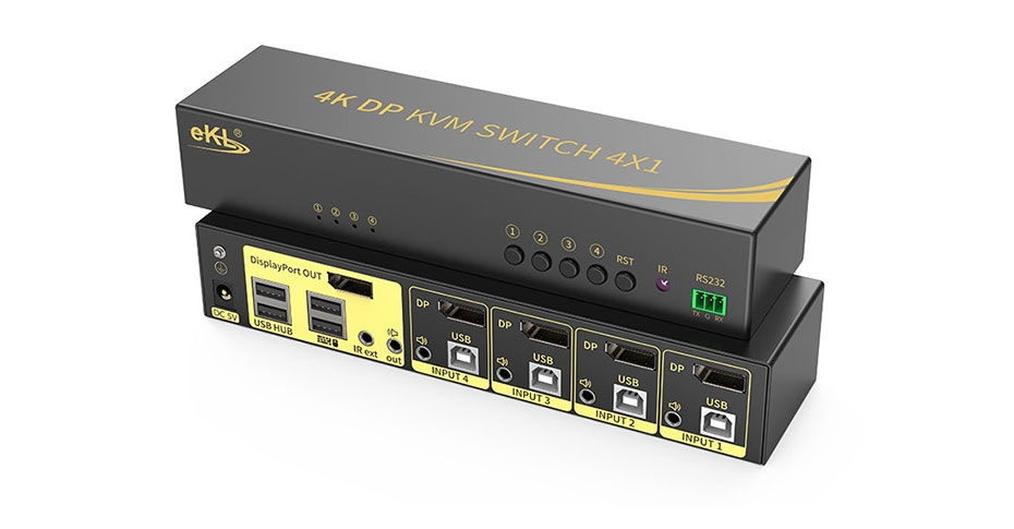 DP KVM switch 4 in 1 out 41DP connection tutorial
