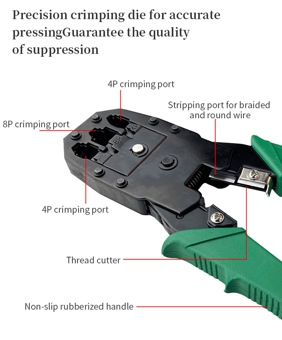 Network cable tool set, multi-function network cable pliers, support 4P/6P/8P crimping