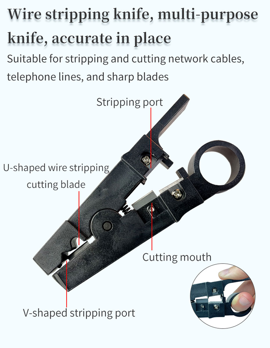 Wire stripping knife for network cable tool set, one cut is in place